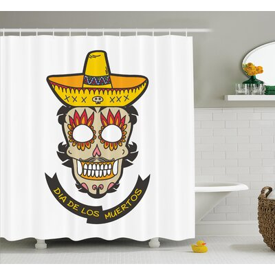 Zaya Day of The Dead Colorful Skull With Sombrero and Moustache and Fire Eyes Shower Curtain Size: 69 W x 70 H