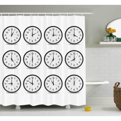 Janette Clocks With Numbers That Show Every Hour Illustration Hour and Minute Hand Shower Curtain Size: 69 W x 75 H
