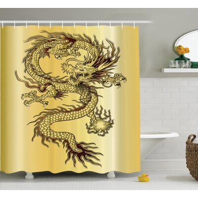 Ourir Dragon Chinese Snake Dragon Theme Print on Golden Eastern Mythology Oriental Abstract Art Shower Curtain Size: 69 W x 70 H