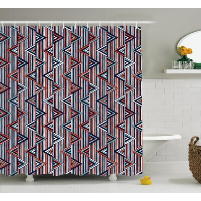Marianne Tribal Striped African Abstract Ethnic Pattern With Creative Triangles Art Shower Curtain Size: 69 W x 70 H