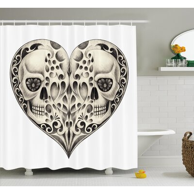 Tami Day of The Dead Twin Half Fire Design Shower Curtain Size: 69 W x 70 H