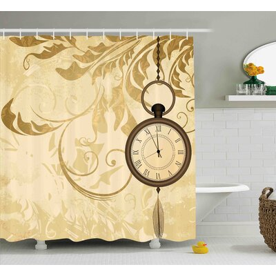 Stein a Vintage Grungy Background Design With Pocket Watches on Chain Romantic Art Print Shower Curtain Size: 69 W x 70 H