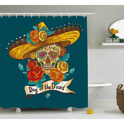 Sally Day of The Dead Mexican Festive Hat Skull With Roses Print Shower Curtain Size: 69 W x 70 H