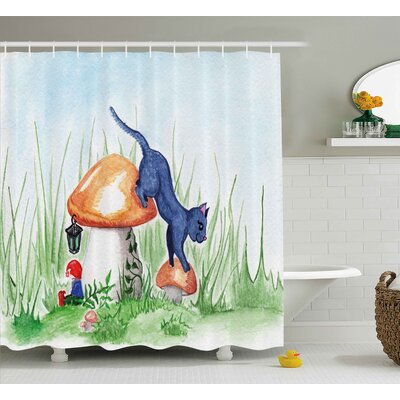 Eddie Animal Little Cartoon Cat Black Shower Curtain Size: 69 W x 70 H