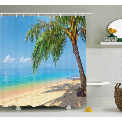 Jessenia Landscape Tropic Botanic Image With Coconut Palms Near Ocean Sea Beach Photo Shower Curtain Size: 69 W x 70 H