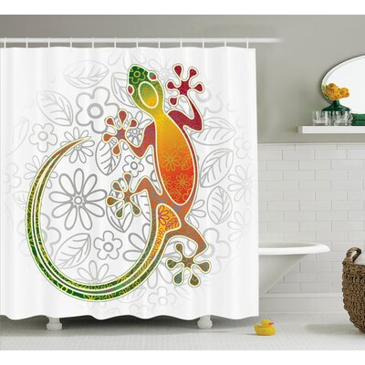 Christa Batik Native Southeast Asian Common House Gecko Moon Lizard Tropical Monster Graphic Decor Shower Curtain Size: 69 W x 75 H