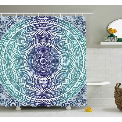 Carole Navy and Teal Ombre Mandala Old Indian Art With Mehndi Style Effects Kitsch Boho Print Shower Curtain Size: 69 W x 75 H