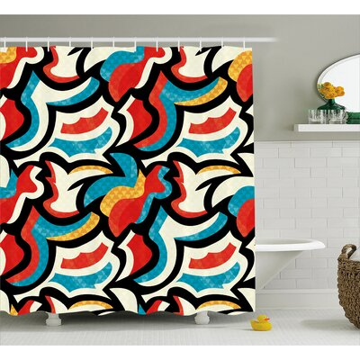 Isabelle Graffiti Street Art Style Pattern Retro Decorations Modern Teen Room Urban Print Shower Curtain Size: 69 W x 70 H