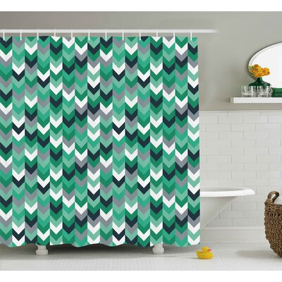 Ana Chevron Arrow Symmetric Zig Zag Lines Shower Curtain Size: 69