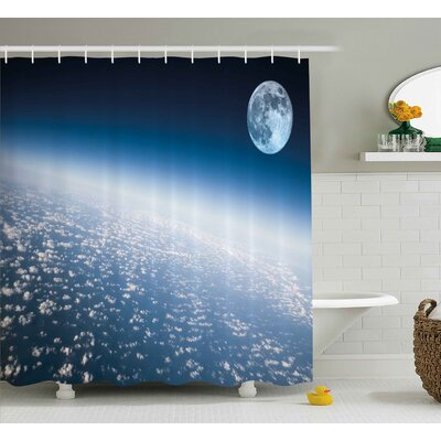 Jerri Aerial Atmosphere View of The Planet Earth With Moon Satellite World Horizon Picture Shower Curtain Size: 69 W x 70 H
