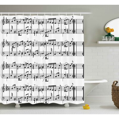 Patrice Music Musical Notes on The Clef Illustration Decorative Artistic Pattern Print Shower Curtain Size: 69 W x 70 H