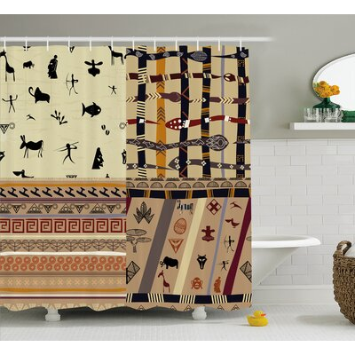 Elsene Native Hunting Animals Shower Curtain Size: 69 W x 70 H