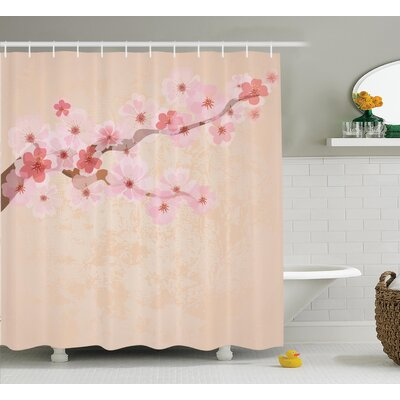 Oosterhout Japanese Cherry Blossoms on Branch Vintage Textured Flourishing Romantic Art Picture Shower Curtain Size: 69 W x 70 H