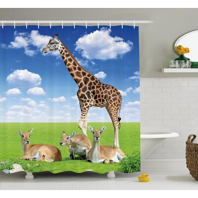 Dewey Giraffe Antelope and Giraffe on Green Meadow Zoo African Animals Shower Curtain Size: 69 W x 70 H