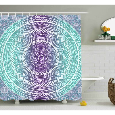 Parker Blue and Purple Mandala Ombre Eastern Mystic Abstract Old Fashion Bohemian Native Cosmos Art Shower Curtain Size: 69 W x 70 H