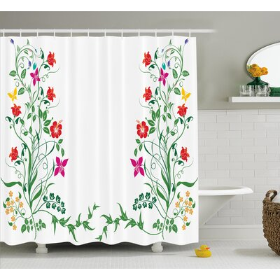 Cunningham Oriental Design With Floral Leaves Buds Frame Like Ivy Decor Natural Image Shower Curtain Size: 69