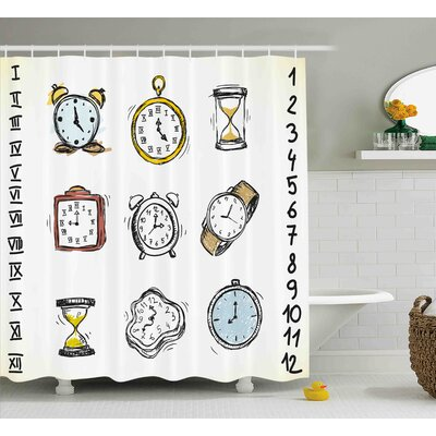 Jillian Collection of Vintage Watches and Doodled Clocks Hand Drawn Illustration Shower Curtain Size: 69 W x 75 H