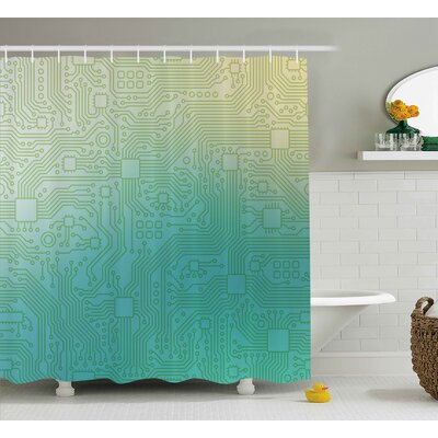 Adonia Abstract Technology Pattern Motherboard Image Background Vector Graphics Shower Curtain Size: 69 W x 70 H