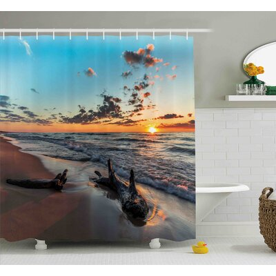Beatriz Driftwood on a Lake At Sunset Landscape Cloudy Sky Digital Image Shower Curtain Size: 69 W x 70 H
