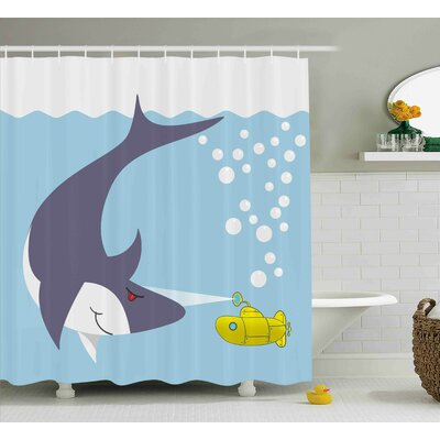 Jerry Yellow Submarine Shark With Vessel Shower Curtain Size: 69 W x 70 H