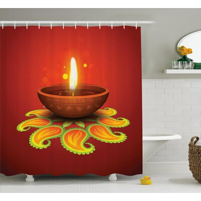 Amrane Diwali Indian Religious Celebration Candle Fire With Beams and Paisley Art Print Shower Curtain Size: 69 W x 70 H