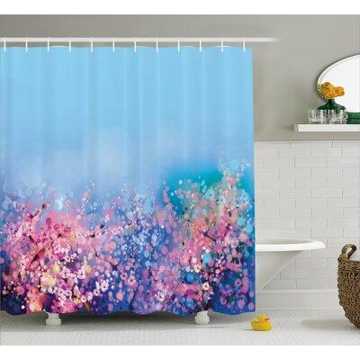 Soto Retro Cherry Blossom Petal Perennial Herb Botanic Habitat Print Shower Curtain Size: 69 W x 70 H