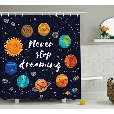 Pauline Quotes Cute Outer Space Planets and Star Cluster Solar Moon and Comets Sun Cosmos Image Shower Curtain Size: 69 W x 75 H