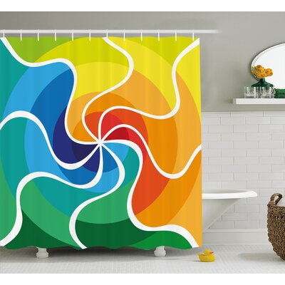 Sheila Rainbow Colored Spiral Gradient Wind Rose Psychedelic Display Surreal Artian Decor Shower Curtain Size: 69 W x 75 H