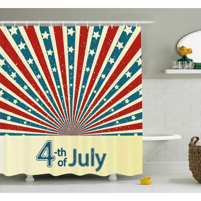 4th of July Special National Celebration Day American Flag Shower Curtain Size: 69 W x 70 H