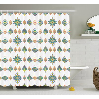 Marilyn Pastel Unique Geometric Hexagon Celtic Motif on White Background Irish Artful Print Shower Curtain Size: 69 W x 75 H
