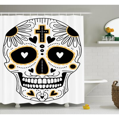 Kayla Day of The Dead Dia De Los Muertos Spanish Mexican Festive Hippie Print Shower Curtain Size: 69 W x 70 H