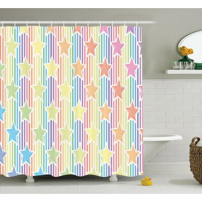 Brenda Rainbow Stars on Colorful Striped Fun Art Abstract Teen Room Playroom Concept Shower Curtain Size: 69 W x 70 H