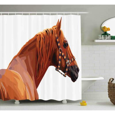 Brundon Race Jokey Horse Pure Noble Animal Ride Hobby Nature Vehicle Artwork Paint Shower Curtain Size: 69 W x 70 H