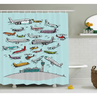 Deloris Airplane Planes Flying Shower Curtain Size: 69 W x 84 H