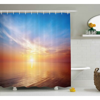 Buchanon Sunrise Magical Horizon Seascape Bay Ocean Coastal Charm Sky Tranquil Summer Image Shower Curtain Size: 69 W x 70 H