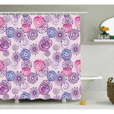 Sally Purple Watercolor Fireworks Blooming Flowers Abstract Spiral Doodle Spots Print Shower Curtain Size: 69 W x 70 H