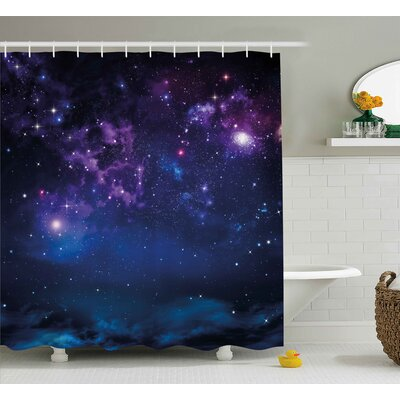 Johnnie Milky Way Themed Dark Matter With Star Field Light Years Sci Fi Travel Display Shower Curtain Size: 69 W x 75 H