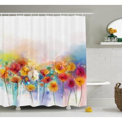 Kassandra Gerbera Bouquet Textured Artisan Inflorescence Morph New Paint Shower Curtain Size: 69 W x 75 H