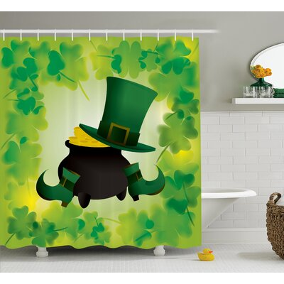St. PatrickS Day Leprechaun Hat and Shoes Costume With Pot of Gold With Shamrock Leaves Shower Curtain Size: 69 W x 70 H
