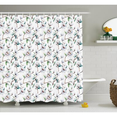 Brady Flower Garden In Nature With Leaves Royal Mallows Shower Curtain Size: 69 W x 70 H