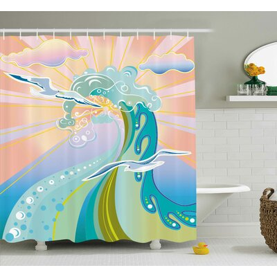 Elena Modern Cartoon Like Image Waves Birds Foams Bubbles With Sunset Like Design Artwork Shower Curtain Size: 69 W x 70 H