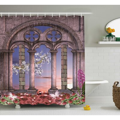 Ancient Secret Garden With Flowers At Sunset Enchanted Forest Shower Curtain Size: 69 W x 70 H