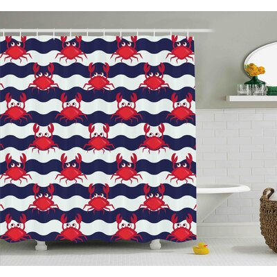 Duanesburg Crabs Nautical Theme Cute Crabs on The Striped Background Illustration Print Shower Curtain Size: 69 W x 70 H