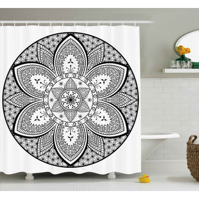 Declan Ethnic Mandala Indian Tribal Design Leaves Flowers Ivy Swirls Dots Artwork Image Print Shower Curtain Size: 69 W x 70 H