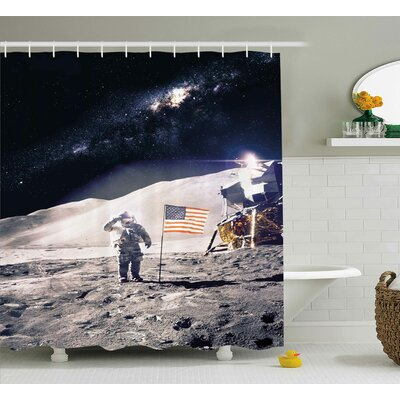 Joey Astronaut on Moon With American Flag Invasion Rocket Cosmonaut Mission Photo Print Shower Curtain Size: 69 W x 75 H