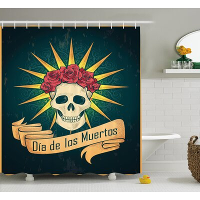 Leanne Day of The Dead Sugar Skull With Roses and Dia De Los Muertos Print Grunge Style Art Shower Curtain Size: 69 W x 70 H