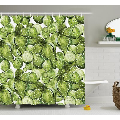 Sheryl Cactus Petals Spikes Sun and Flowers Shower Curtain Size: 69 W x 70 H