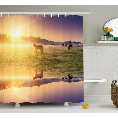 Baford Horse Valley Shower Curtain Size: 69 W x 70 H