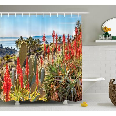 Austin Cactus Photo Landscape of a Desert Mountains With Sea View Flowers and Cactus Plants Shower Curtain Size: 69 W x 70 H