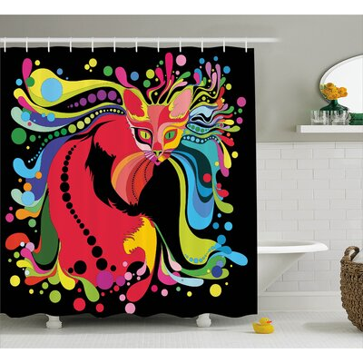 Victoria Futuristic Kitty Print With Light Liquid Swirling Color Burst Motifs Kitty Graphic Shower Curtain Size: 69 W x 75 H